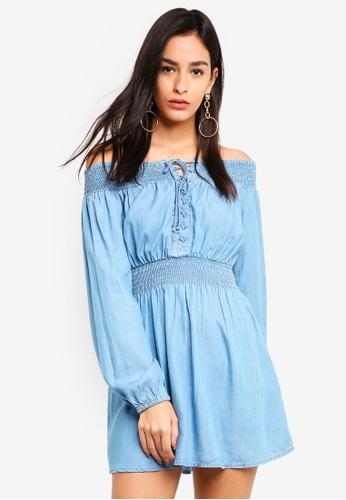 MISSGUIDED blue Shredded Gathered Waist Mini Dress 88CB5AA9FD8AF3GS_1