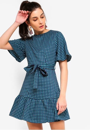 ZALORA green and multi Ruffles Hem Fit And Flare Dress 35AF0AA32BECB4GS_1