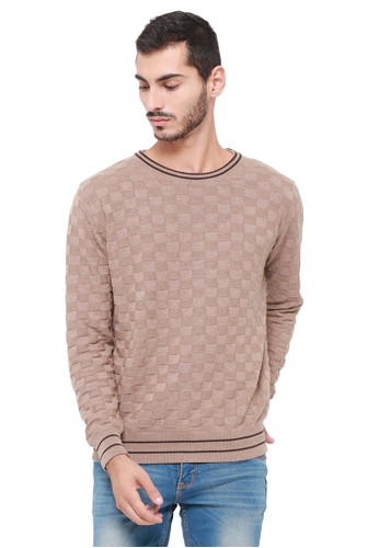 Knitwork beige KNITWORK Beige Checker Sweater 2556BAAE66F802GS_1