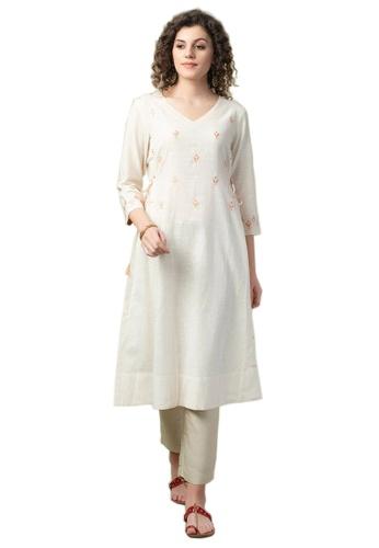 Fabindia Cotton Embroidered Slim Fit Long Kurta 471B0AA152774AGS_1