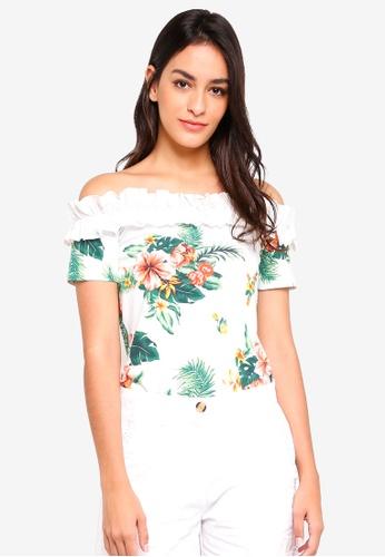 Dorothy Perkins white Ivory Floral Woven Trim Bardot Top B2FA0AAB0E5DE2GS_1