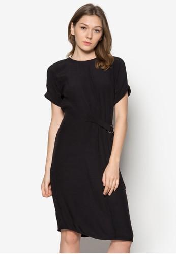 素色短袖腰帶連身裙,zalora時尚購物網評價 服飾, 正式洋裝