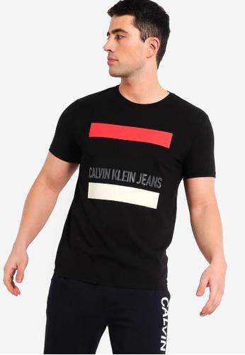 Calvin Klein 黑色 短袖LOGO修身T恤 21C20AA9FBD929GS_1