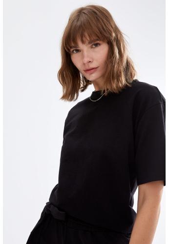 DeFacto black Woman Knitted Short Sleeve T-Shirt 445B5AA4D378D7GS_1