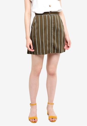 Something Borrowed green Zip Through Mini Skirt 745FEAA6963A8EGS_1