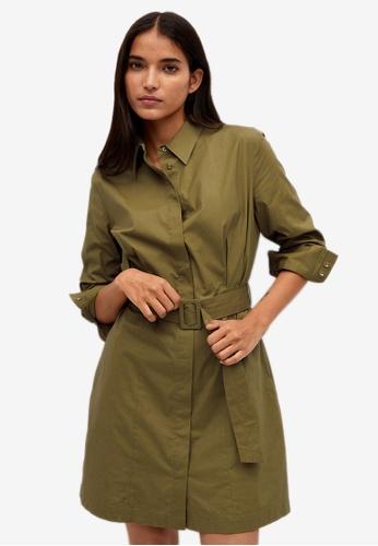 Mango green Popelin Belt Dress B79CFAAA821A1AGS_1
