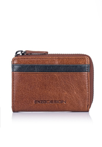 ENZODESIGN brown and multi and navy Buffalo Leather ID Mini Coin Case With Key Ring EN357AC0FM30SG_1