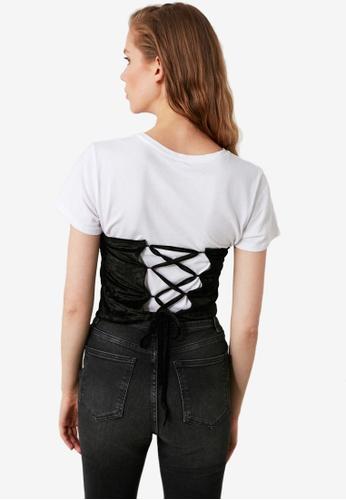 Trendyol black Lace-Up Back Detail Velvet Bustier 984D2AA0DC0992GS_1