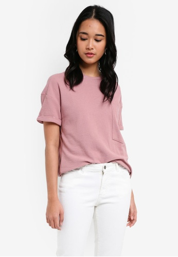 Penshoppe pink The Dress Code Relaxed Fit Tee With Pocket B600FAAF0AD612GS_1