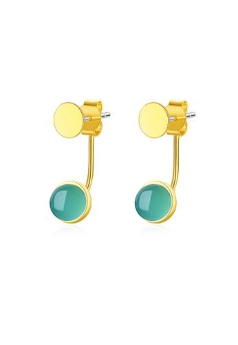 SUNRAIS gold High quality Silver S925 gold simple design earrings 1194FAC3259693GS_1