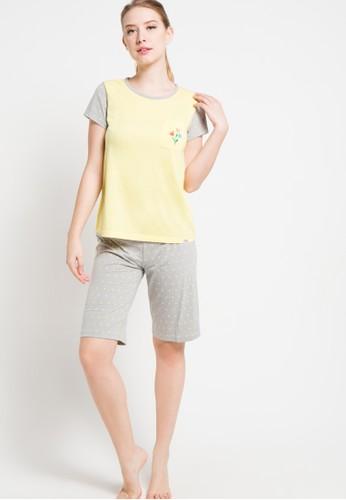 PUPPY yellow Short Sleeve Short Pants Bordir Crumpled Misty PU643AA90XFHID_1