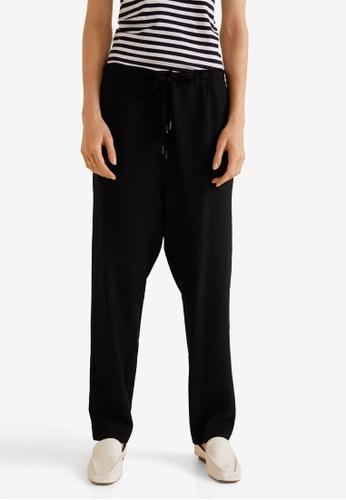 MANGO black Textured Baggy Trousers B56E9AA2BE8EA0GS_1