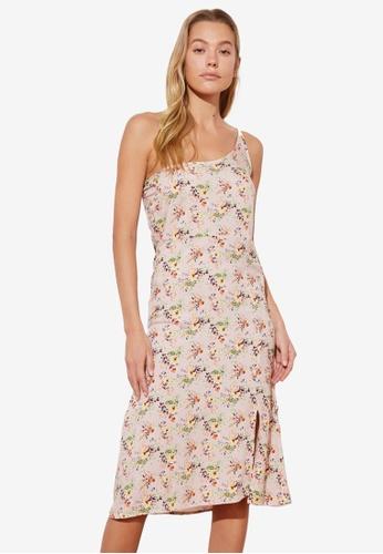 Trendyol pink One Shoulder Floral Print Dress 87885AA28B22C5GS_1