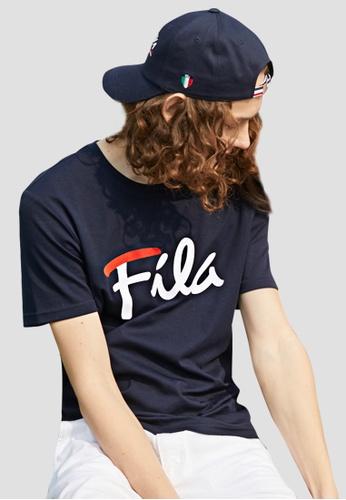 FILA navy Logo Cotton Tee 87572AA387FE32GS_1