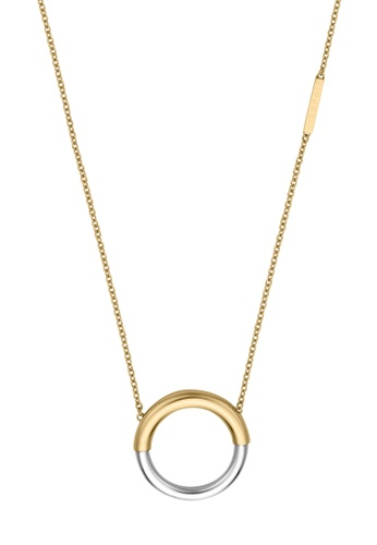 ESPRIT gold ESPRIT [Tint] Two-Tone Silver & Gold Stainless Steel Necklace (42 cm + 3 cm extension) 66A0FAC5470B93GS_1