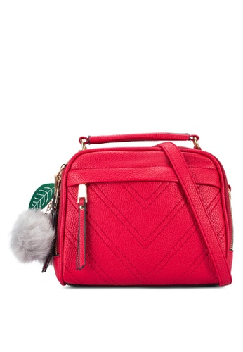 Bagstationz red Bagstationz Quilted Convertible Top Handle Bag BA607AC03YDCMY_1