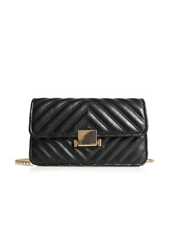 Lara black Women's Small Sling Bag With Metal Lock 93812AC3643043GS_1