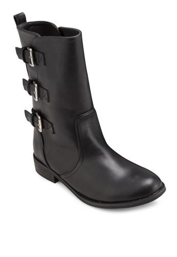 三esprit台灣網頁扣環PU 中筒靴, 女鞋, 靴子