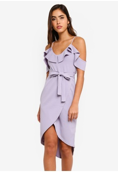 ceb04b23391 MISSGUIDED grey Crepe Frill Midi Dress FCA26AAEC72FA1GS 1