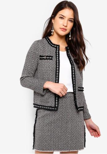 ZALORA black and beige Tweed Blazer DE8B0AA4FE5D4FGS_1