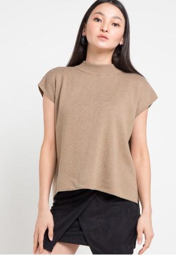 Noir Sur Blanc brown Ladies Top Short Sleeve 626CEAABC64214GS_1