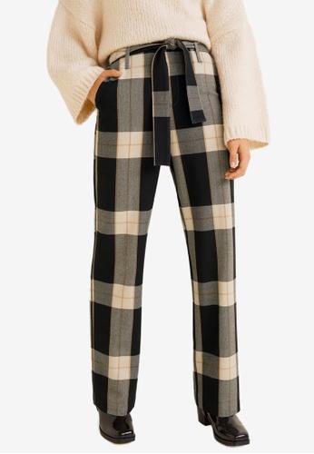 Mango brown and multi Check Flare Trousers E1CDFAA57E9880GS_1