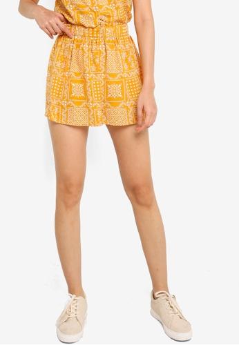 ZALORA BASICS yellow Elastic Waistband Shorts 66F42AA42FCD75GS_1