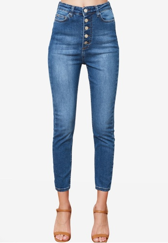 Trendyol navy Button Front High Waist Skinny Jeans A075EAA4D9DB9CGS_1