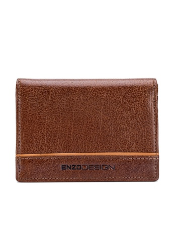 ENZODESIGN brown Fine Grained Water Buffalo Leather Card Holder With Center Divider 271AFAC30473DFGS_1