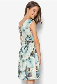 Large Floral Print V Back Tie Back Dress