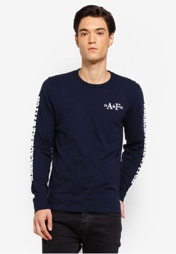 Abercrombie & Fitch navy Tech Logo T-kemeja D19DAAA53E851AGS_1