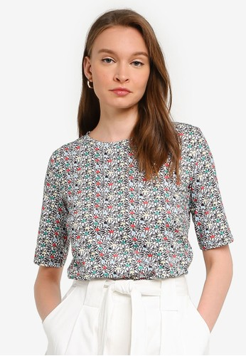 Compania Fantastica multi Black Floral T-Shirt 9527DAA1F3ACB2GS_1