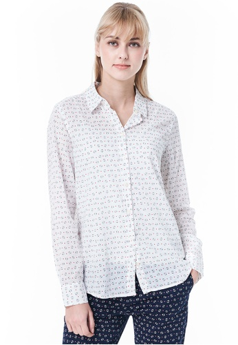 United Colors of Benetton white Shirt with Allover Pattern E8B61AA85D2DF5GS_1