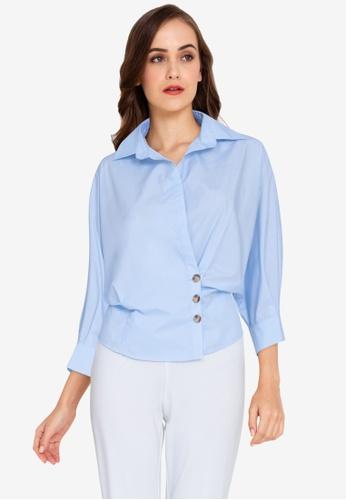 ZALORA WORK blue Wrap Detail Shirt 68EEBAA8413AA6GS_1