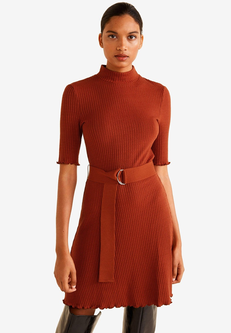 Dress Medium Ribbed Belt Mango Orange qAHxz