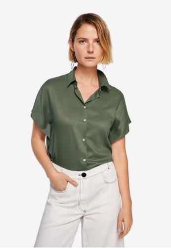 Mango green Dolman Sleeve Shirt C4680AA7EE63BBGS_1