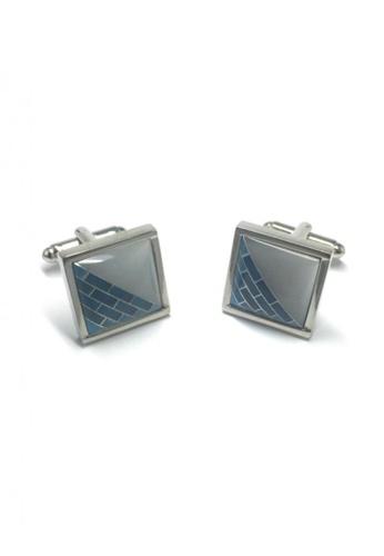 Splice Cufflinks silver Patterned 3D Square Cufflinks   SP744AC61DLQSG_1