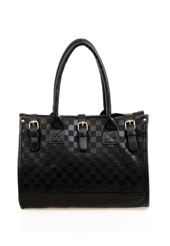 Jackbox black Fashion Checkerboard PU Leather Sling Tote Bag 319 JA762AC42LZLMY_1
