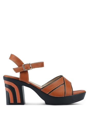 Noveni 褐色 雙色繞帶粗跟涼鞋 6330ESH362C885GS_1