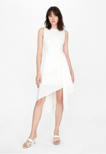 Pomelo white Flowy Crew Neck Dress - White 18A4BAA6636996GS_1