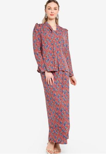 Lubna brown and blue Printed Kebaya With Tulip Skirt 25128AAFE0F535GS_1