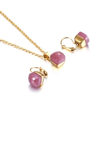 Glamorousky pink Fashion and Simple Plated Gold Geometric Square 316L Stainless Steel Necklace and Earrings Set with Pink Cubic Zirconia 83BC9AC640BD27GS_1