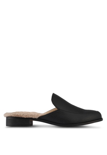Something Borrowed black Fur Slip On Flats FDFFCSH6E64230GS_1