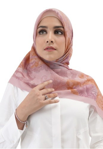 Buttonscarves pink Buttonscarves Song of the Sea Voile Square Coral 0647DAA50ED264GS_1