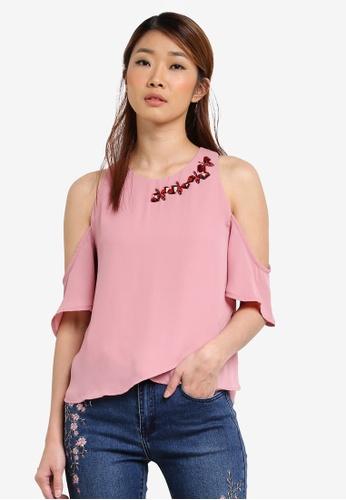 Something Borrowed pink Embellished Neckline Cold Shoulder Top 5C09AAADEB98B2GS_1