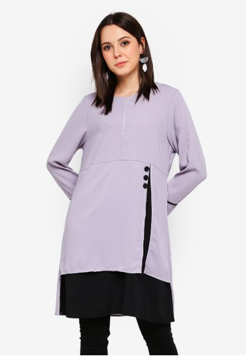 BYN grey Piping Detail Blouse 11EF7AAB435F47GS_1