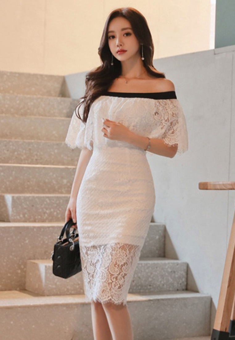 2018 A051619 Dress White Lace New Sunnydaysweety Shoulder Off Piece white One qxnq8pAr4w