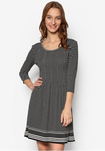 波點條紋印花七分袖連身裙esprit台灣outlet, 服飾, 洋裝