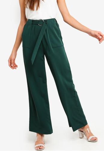 ZALORA green Pocket Detail Wide Leg Pants 0279EAAE3B8ABEGS_1