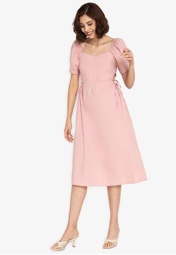 ZALORA BASICS pink Ruffle Sleeve Midi Dress with Sash DC6D0AA568A3ECGS_1